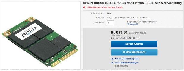 Crucial M550 HDSSD MSATA 256 GB
