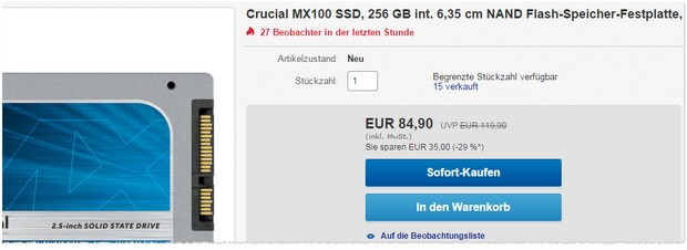 Crucial MX 100 SSD mit 256 GB bei Gravis