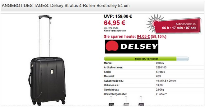 Delsey Stratus 4-Rollen-Bordtrolley