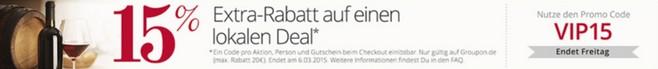 Groupon-Rabatt 15 Prozent lokal