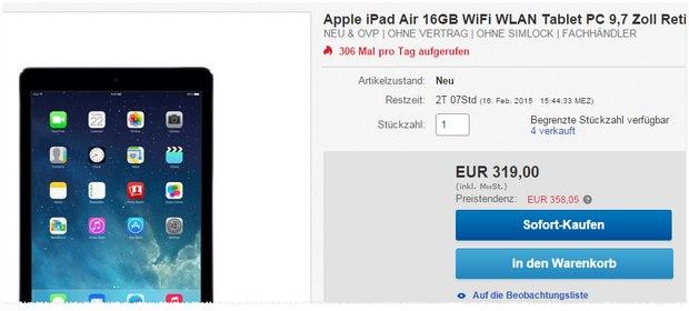iPad Air für 319 €