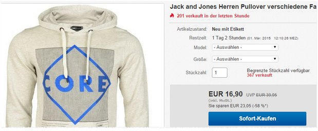 Jack & Jones Pullover für 16,90 €