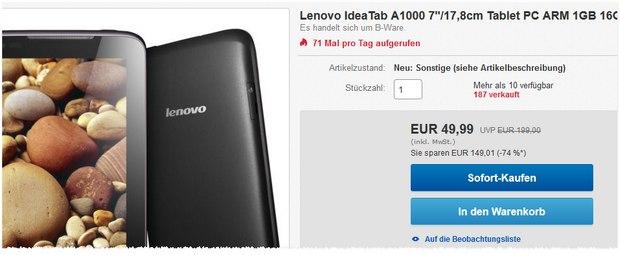 Lenovo IdeaTab A1000 B-Ware nur 50 €