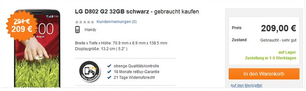 LG G2 B-Ware bei reBuy