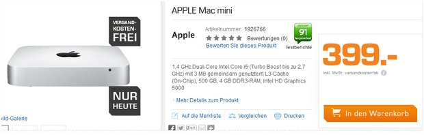 Mac mini Angebot am Saturn Super Sunday für 399 €