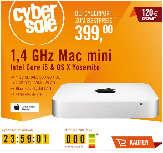 Mac mini im Cyberport CyberSale am 23.2.2015 für 399 €