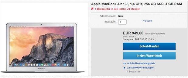 MacBook Air mit 256 GB SSD und 4GB RAM