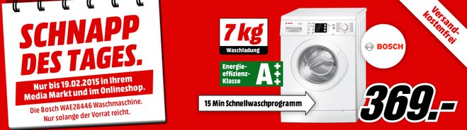 Media Markt Schnapp des Tages: Bosch WAE 28446