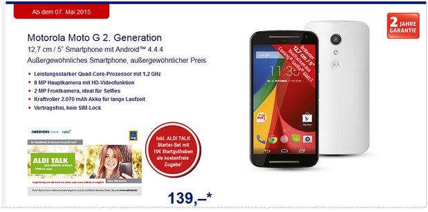 Motorola Moto G 2G bei ALDI Süd ab 7.5.2015 für 139 Euro im Angebot