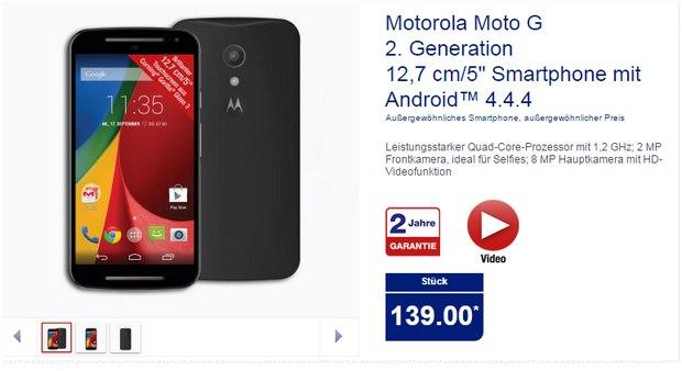 Motorola Moto G 2 bei ALDI für 139 €