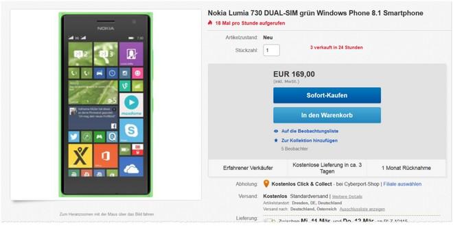 Nokia Lumia 730 ohne Vertrag günstiger