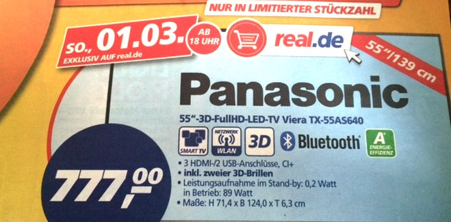 Panasonic TX-55AS640 als Real Deal des Tages