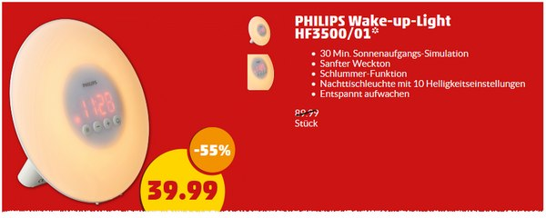 Philips Wake-up-Light HF3500 bei Penny für 39,99 €