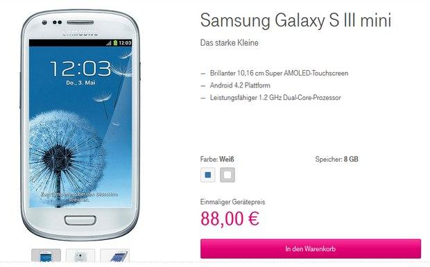 Samsung Galaxy S3 mini ohne Vertrag im Telekom-Shop für 88 €