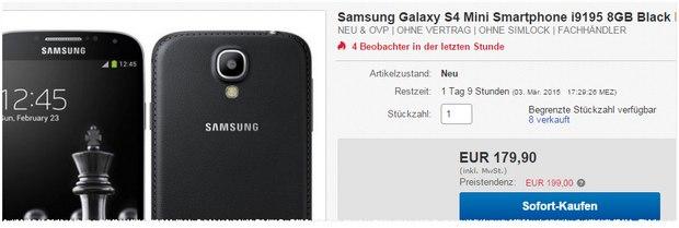Samsung Galaxy S4 mini in der Black Edition ohne Vertrag