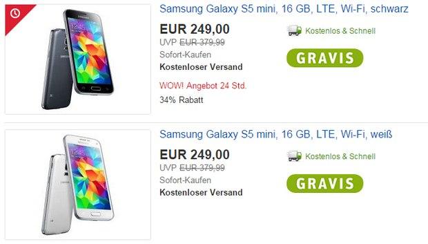 Samsung Galaxy S5 mini ohne Vertrag für 249 € bei Gravis