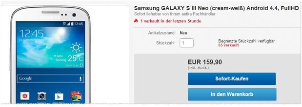 Samsung Galaxy SIII Neo ohne Vertrag