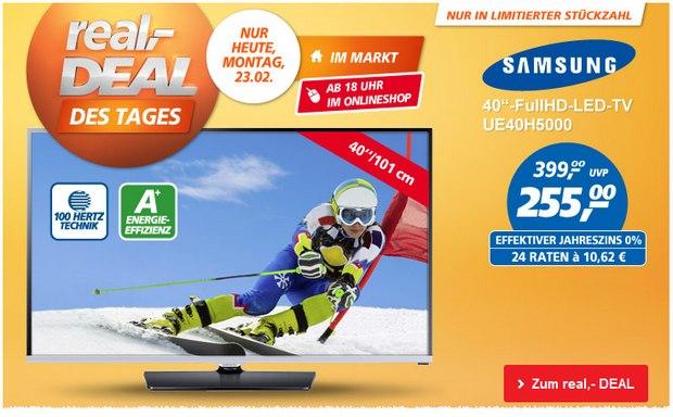 Samsung UE40H5000 als Real Deal des Tages am 23.2.2015 für 255 €