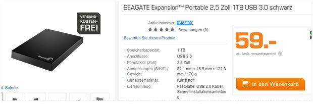 Seagate Expansion Portable 1TB für 59 €