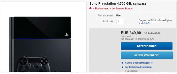 Sony PlayStation 4 für 349 €