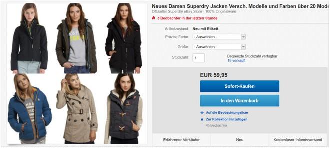 Superdry Jacken aus dem eBay Marken-Store im Angebot