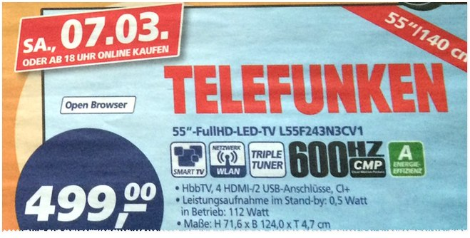 Telefunken L55F243N3CV1 als Real Deal des Tages am 7.3.2015