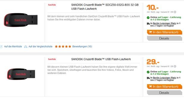 Der SanDisk Cruzer Blade 128 GB USB-Stick ist bei Saturn online für 29 € zu finden - mit 32 GB kostet er günstige 10 €.