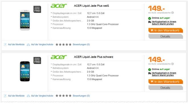Acer Liquid Jade Plus als Saturn-Angebot