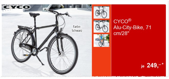 aldi alu city bike von cyco als aldi s d angebot ab 1. Black Bedroom Furniture Sets. Home Design Ideas