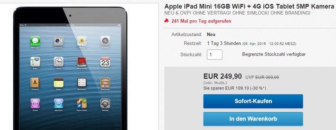 Apple iPad mini Angebot für 249,90 €