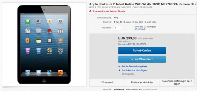 Apple iPad mini 2 Angebot ohne Vertrag