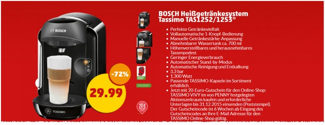 Bosch Tassimo Angebot bei PENNY ab 1.4.2015