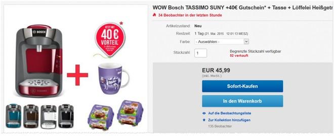Bosch Tassimo Suny Angebot bei eBay