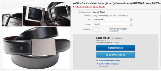 3 Calvin Klein Wendegürteln