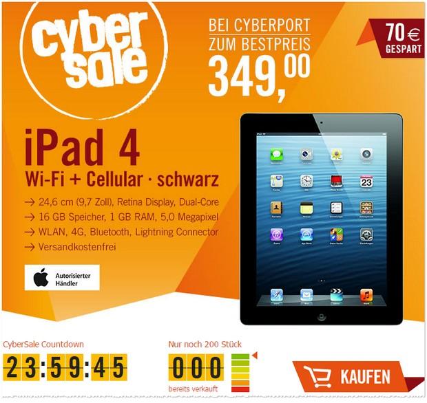 Cyberport Cybersale Angebot fürs iPad 4 WiFi + 4G 16GB für 349 €