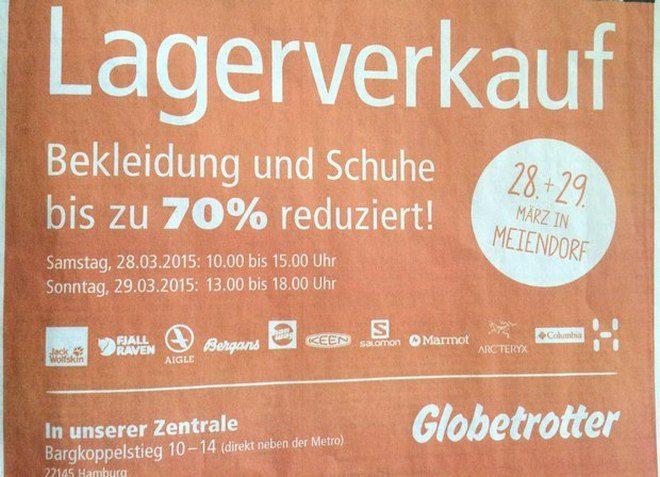 Globetrotter Lagerverkauf Hamburg 2015