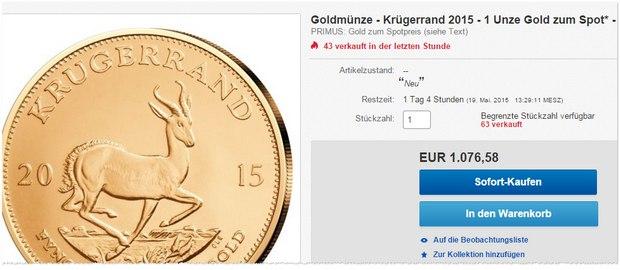 Goldmünze Krugerrand bei eBay
