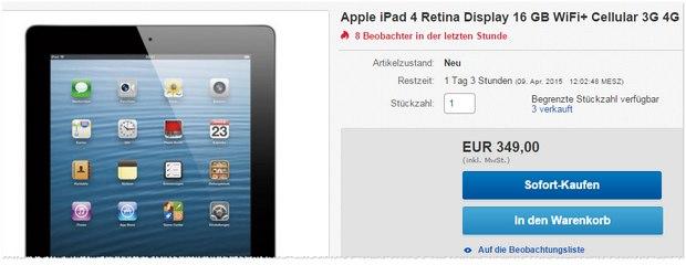 iPad 4 Retina WiFi + 4G für 349 €