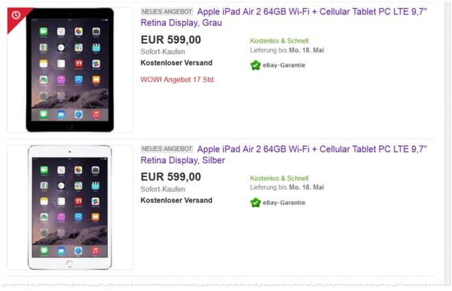 iPad Air 2 Angebot mit 64 GB, WiFi und Cellular Funktion