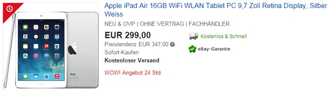 iPad Air für 299 €