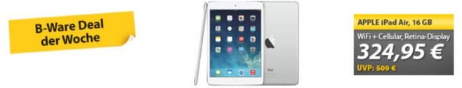 Apple iPad Air Cellular ohne Vertrag zum B-Ware-Preis