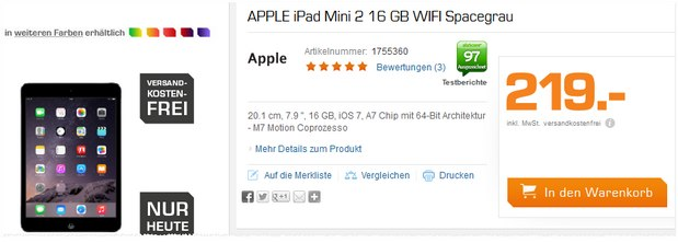 iPad mini 2 Retina am Saturn Super Sunday für 219 €