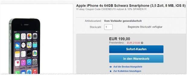 iPhone 4S 64GB generalüberholt für 199 €