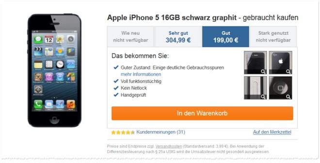 iPhone 5 ohne Vertrag als B-Ware - Zustand: gut