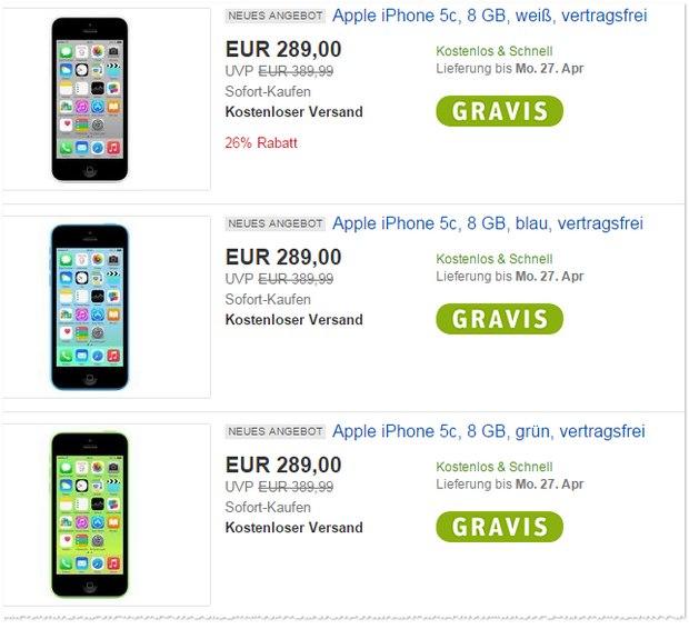 iPhone 5C bei Gravis für 289 €