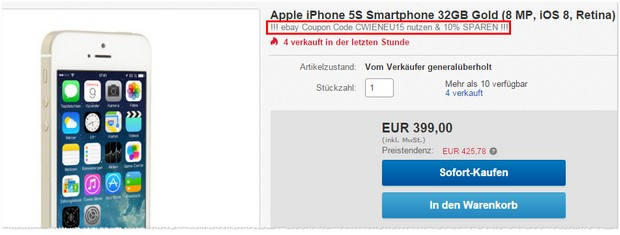 iPhone 5S refurbished mit 10% Extra-Rabatt