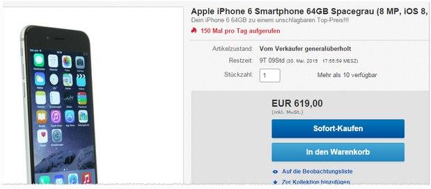 iPhone 6 (64GB) refurbished bei eBay