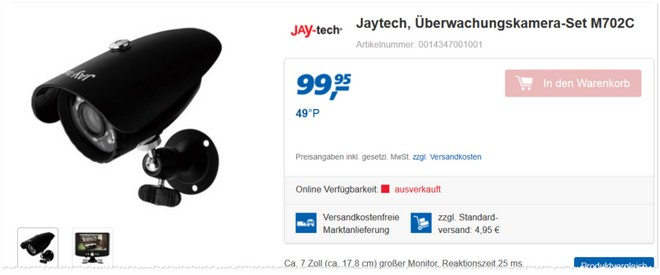 Jay-Tech M702C Überwachungskamera-Set