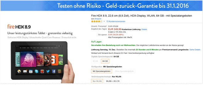 Kindle Fire HDX 8.9-Tablet als Tagesangebot am 16.12.2015