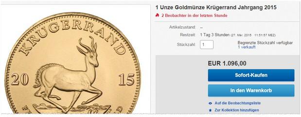 Krugerrand Goldmünze (Unze) bei eBay